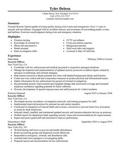 security guard resume sample security guard resume security guard security supervisor resume - Sample Security Manager Resume