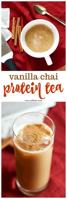You can drink this vanilla chai latte protein tea hot or cold, for a great start to your morning or mid-day power snack. Protein Smoothies, Best Smoothie, Healthy Protein Snacks, Protein Shake Recipes, Fruit Smoothies, Smoothie Recipes, Protein Shakes, High Protein, Smoothie King