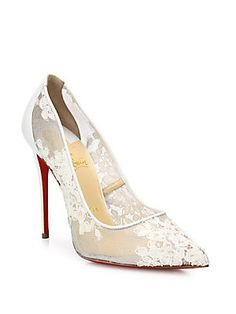 Christian Louboutin Lace & Leather Pumps - White - Size 37
