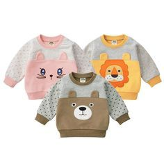 MOF Kids sweatshirts infant baby boy sweatsuit cartoon animal print featuring a crew neck, long sleeves, a printed cartoon animal print logo to the front, side slits and a straight hem.      Infant sweatshirts  Composition:      Cotton  Polyester Teddy Bear Clothes, Cute Baby Clothes, Baby Boy Outfits, Kids Outfits, Baby Suit, Baby Sewing Projects, Girls Pajamas, Beautiful Babies, Kids Fashion