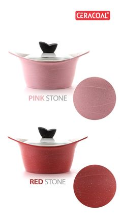 CERACOAL - Stockpot pot | Pink & Red Stone coating | durability | non-stick feafutre | Alternative outstanding coating