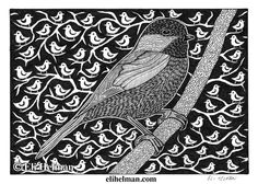 Chickadee by Eli Helman, 5x7, Micron pen ink on paper