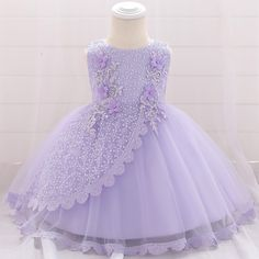 Baby / Toddler Applique Mesh Sequined Floral Embroidered Bubble Dress