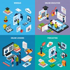 Buy Four Webinar Isometric Icon Set by macrovector on GraphicRiver. Four square webinar isometric icon set with webinar online education lessons and podcasting descriptions vector illus. Toilet And Sink Unit, Toilet Sink, Vector Graphics, Vector Free, Topography Map, Pantone Blue, Marketing Budget, Online Lessons, Photo Craft