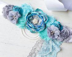 Grey Turquoise Aqua blue Maternity Sash, boy sash wedding photography prop Maternity belt, Pregnancy sash, Flower sash