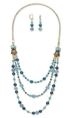 Triple-Strand Necklace and Earring Set with Celestial Crystal Beads Czech Glass Beads and Antiqued Gold-Finished \Pewter\ Cones
