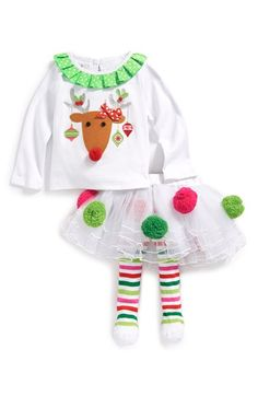 Mud Pie 'Reindeer Pompom' Tunic & Tights (Baby Girls) available at #Nordstrom