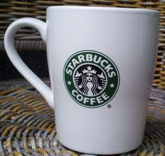 Starbucks Classic White Coffee Mug Cup 2007 Green & Black Mermaid Siren Logo 8oz #Starbucks