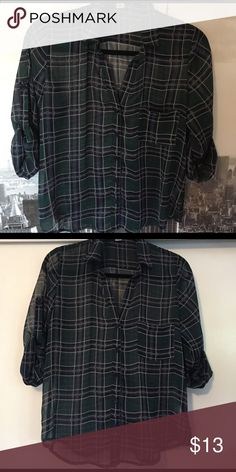 🇺🇸Band Of Gypsies sheer plaid button down Great sheer button down which looks great with white tank under for a cute casual look Band of Gypsies Tops Button Down Shirts