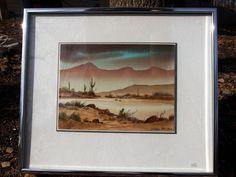 "http://stores.ebay.com/mariasantiqueandvintage Jerry Becker Original Watercolor Painting ""Down the Arroyo"" No. 3 Southwest #Realism"