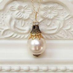 Filigree And Pearl Pendant Necklace – Katherine Swaine Swarovski Crystal Beads, Swarovski Pearls, Pearl Pendant Necklace, Gold Filigree, Bead Caps, Vintage Inspired, Silver, Metals, Sparkles