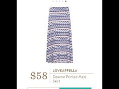 Loveappella Deanne Printed Maxi Skirt - would love this in purple or similar print 21564-146-A