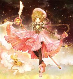 Cardcaptor Sakura | CLAMP | Madhouse / Kinomoto Sakura and Keroberos (Kero-chan) / 「星の力」/「ぽり」のイラスト [pixiv]