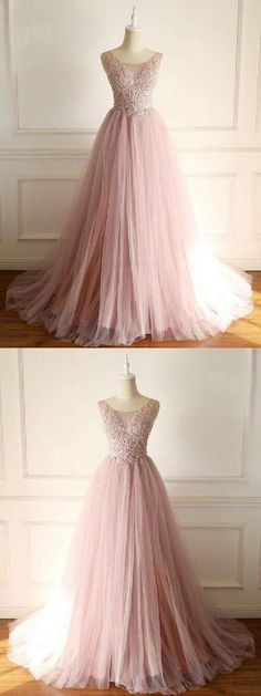 Custom Made Nice Blush Prom Dresses Blush Prom Dress A-line Beads Cheap Tulle Prom Dresses Long Elegant Evening Dress Blush Prom Dress, A Line Prom Dresses, Tulle Prom Dress, Grad Dresses, Cheap Prom Dresses, Evening Dresses, Formal Dresses, Cheap Tulle, Homecoming