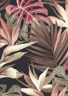 Ukali - Barkcloth Hawaii Fabrics - Vintage Style Hawaiian Botanical Fabric a tropical Bird of paradise, monstera, and palm fronds on a cotton apparel fabric.