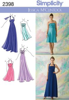 Womens evening gowns Sewing Pattern 2398 Jessica McClintock for Simplicity = I like the lavendar style, with more beading