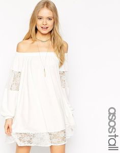 Image 1 ofASOS TALL Swing Dress With Gypsy Shoulder Detail and Lace Insets