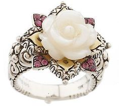 Barbara Bixby Carved Mother-of-Pearl Flower Ring, Sterling/18K