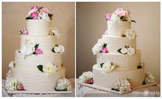 Pretty white wedding cake by Blue Moon Bakery at the Lodge and Spa at Breckenridge in Colorado