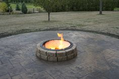 Stamped concrete for our firepit