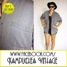 *3 FOR 2* Vintage Oversized Grey Blue Shirt Unisex szL - 1990s Grunge FREE P £12.50