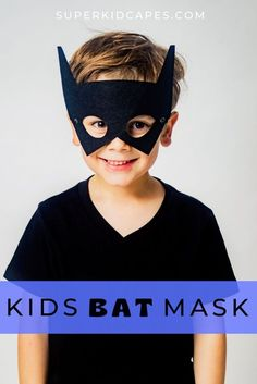 Are you looking for the perfect accessory for your superhero costume this halloween? Each mask is made from a strong felt material with an adjustable elastic cord. Choose from 3 colors; black, pink, blue or gray. Whether you are looking for a halloween costume, party favor, or an addition to your dress up corner, this bat mask will be perfect for your little boy and girl! Check out more at superkidcapes.com!