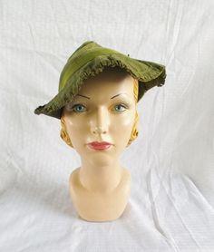 1930's Vintage Green Suede Robin Hood Hat by MyVintageHatShop, $38.00