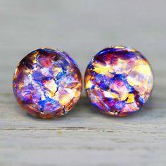Opal Earrings Lavender Lace Amethyst Purple Yellow by ArtisanTree <3