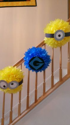 Minion party decorations..cute even if you do not have stairs hanging from the ceiling.