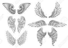 Alas Heráldicos Creado Para El Diseño Del Tatuaje O Mascota Ilustraciones Vectoriales, Clip Art Vectorizado Libre De Derechos. Image 22365171.
