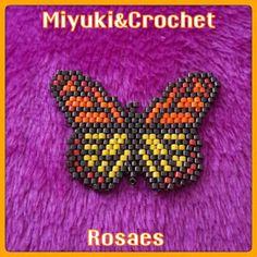 Miyuki&Crochet Rosaes:  MARIPOSA Mariposa realizada con la técnica del b...