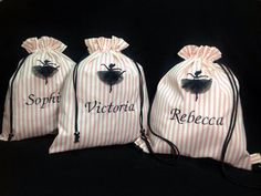 Personalized bag for slippers. The ballerina silhouette has a little tulle tutu of her own.