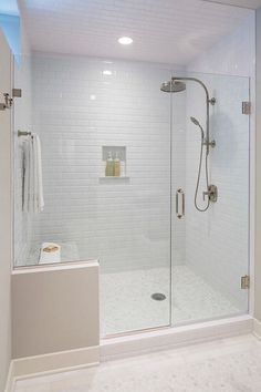 Beveled Subway Tile in Shower. Shower with Beveled Subway Tiles on Walls and…