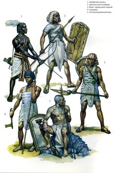 Egyptian warriors. No.1 is a Medjay mercenary from northern Sudan, Nubia.