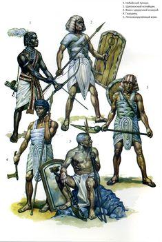 Egyptian warriors. No.1 is a Medjay mercenary from northern Sudan, Nubia.