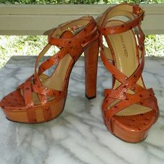 """SALEDSquared2 Rust Leather Ankle Strap Sandals Stand tall in these beautiful strappy sandals. Leather upper, wood heel/sole, gold hardware. Ankle straps, 5.5"""" heel, 1.25"""" platform. Run slightly small. Made in Italy. New in box. DSquared2 Shoes Sandals"""