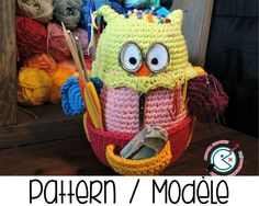PDF PATTERN : Owlivia, the crochet Owlganizer amigurumi pattern - crochet storage - crochet organizer - crochet supplies holder stationary
