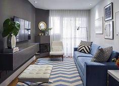 10 Architect Ideas for Small Room Decor - New Deko Sites Narrow Living Room, Tiny Living Rooms, Home Living Room, Living Room Designs, Living Room Decor, Condo Interior Design, Small Room Decor, House, Home Decor