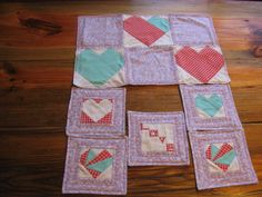 HEART center piece and 5 coasters set in by RachaelsCrazyScraps