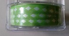 May Arts 3/8 Inch Wide by 50 yards Ribbon    Green with Silver Diamonds   NEW #MayArts