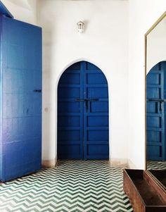 moroccan tiles and blue doors