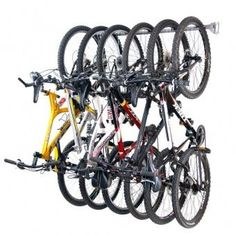 Garage Bike Rack from Monkey Bars Garage Storage systems......this might be the perfect solution to my no shed dilemma!