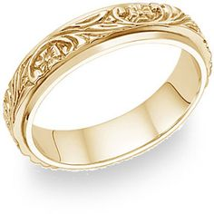 ApplesofGold.com - Floral Vineyard Wedding Band in 14K Yellow Gold