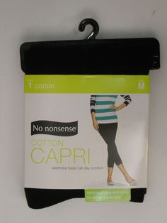 SIZE M 8 10 Womens Cotton Capris Leggings NO NONSENSE Solid Black No Show Covera #NoNonsense