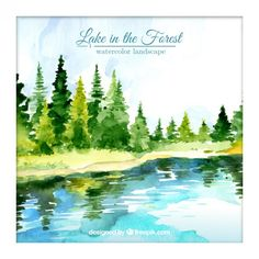 Watercolor lake in the forest background Free Vector