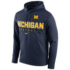 Nike Michigan Wolverines Navy Circuit Football Pullover Performance Hoodie - FansEdge.com