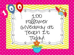 Teach It Today! is having a giveaway.  Enter to win teacher products and a bottle of 91 point wine!