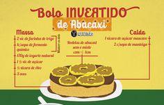 Receita ilustrada de Bolo invertido de Abacaxi muito fácil de preparar. Nessa receita você vai precisar do Abacaxi. Para o Caramelo: Açúcar mascavo e manteiga. Para a massa: farinha de trigo, açúcar, iogurte, ovo, óleo e fermento em pó.