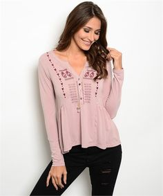 #blushtop #casualtop #boutiquetop | Blush with Burgundy Embroidered Women's Boutique Top | Cali Boutique | FREE U.S shipping!