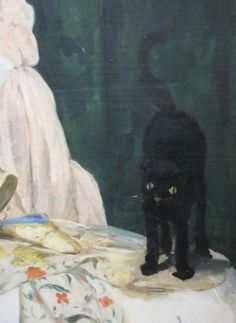 As a cat person, Édouard Manet used his cat Zizi as a model for many of his works.Woman with a Cat shows Zizi on the lap of Suzanne, Manet's wife. Mary Cassatt, Renoir, Illustrations, Illustration Art, Black Cat Art, Black Cats, Black Kitty, French Impressionist Painters, Colors